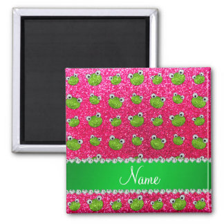 Personalized name rose pink glitter frogs refrigerator magnets