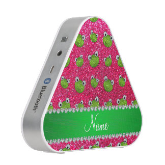 Personalized name rose pink glitter frogs speaker