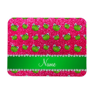 Personalized name rose pink glitter frogs magnets