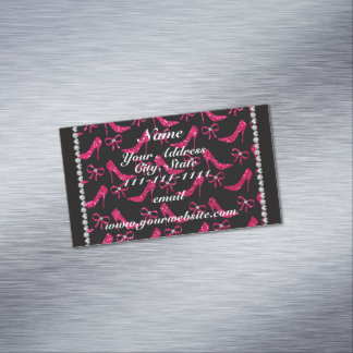 Personalized name rose pink glitter high heels bow magnetic business cards (Pack of 25)