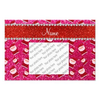Personalized name rose pink glitter santas art photo