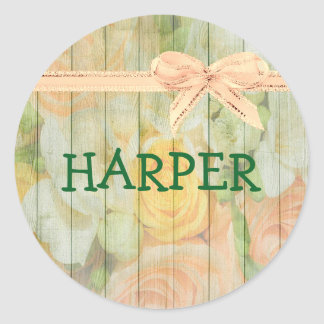 Personalized Name rustic floral wood Stickers
