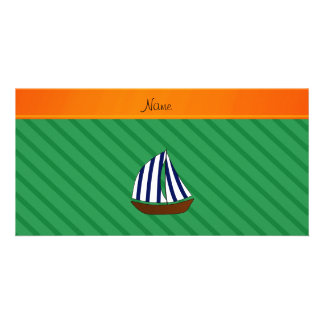 Personalized name sailboat green diagonal stripes picture card