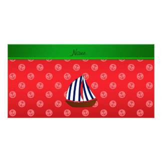 Personalized name sailboat red dot anchors personalized photo card
