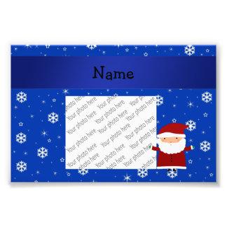 Personalized name santa blue snowflakes photo print