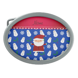Personalized name santa blue snowmen holly oval belt buckle