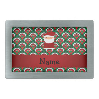 Personalized name santa candy canes bows rectangular belt buckle