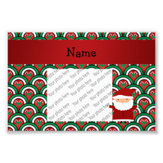 Personalized name santa candy canes bows photo print