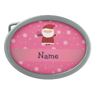 Personalized name santa cupcake pink snowflakes belt buckles