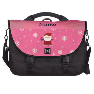 Personalized name santa cupcake pink snowflakes laptop bags