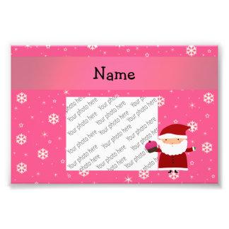 Personalized name santa cupcake pink snowflakes photographic print