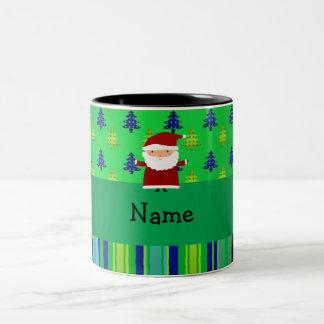 Personalized name santa green blue christmas trees mugs