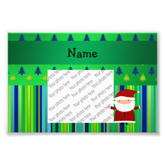 Personalized name santa green blue christmas trees photo print