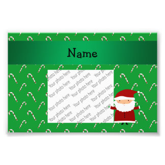 Personalized name santa green candy canes photo