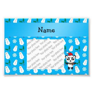 Personalized name santa panda bear blue snowman photograph
