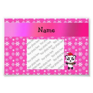Personalized name santa panda bear pink snowflakes photo print