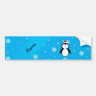 Personalized name santa penguin blue snowflakes bumper stickers
