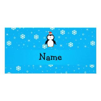 Personalized name santa penguin blue snowflakes customized photo card