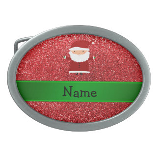 Personalized name santa red glitter oval belt buckle