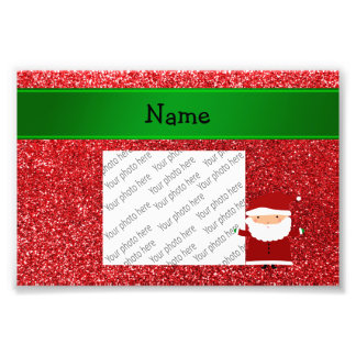 Personalized name santa red glitter photo art