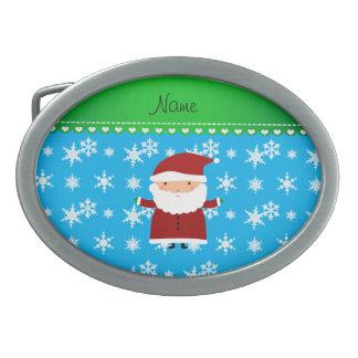 Personalized name santa sky blue snowflakes belt buckles