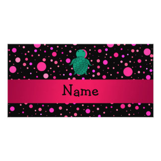 Personalized name sea turtle black pink polka dots photo cards