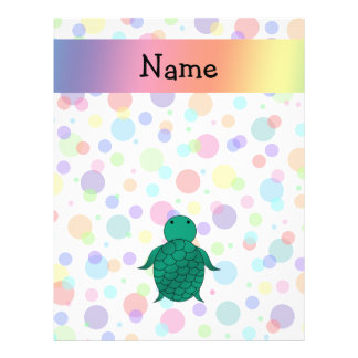 Personalized name sea turtle rainbow polka dots 21.5 cm x 28 cm flyer