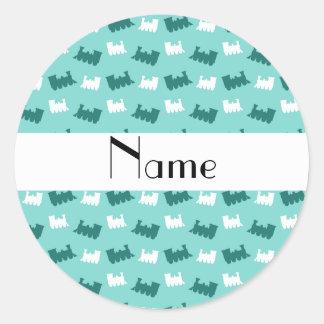 Personalized name seafoam green train pattern sticker