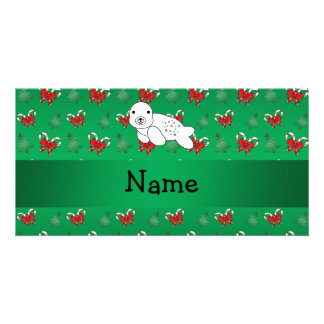 Personalized name seal green candy canes bows customized photo card