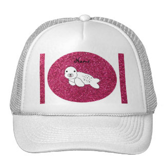 Personalized name seal pup pink glitter cap