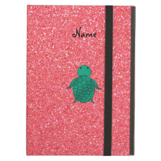 Personalized name seat turtle pink glitter iPad air cover