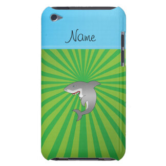 Personalized name shark green sunburst barely there iPod case
