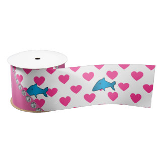 Personalized name shark pink hearts polka dots satin ribbon