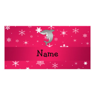 Personalized name shark pink snowflakes photo card template