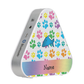 Personalized name shark rainbow paws speaker