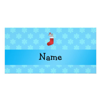 Personalized name shark stocking blue snowflakes personalised photo card
