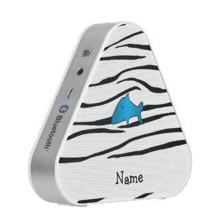 Personalized name shark zebra stripes speaker