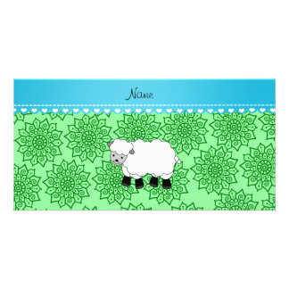 Personalized name sheep green flowers photo greeting card