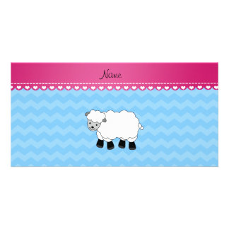 Personalized name sheep pastel blue chevrons picture card