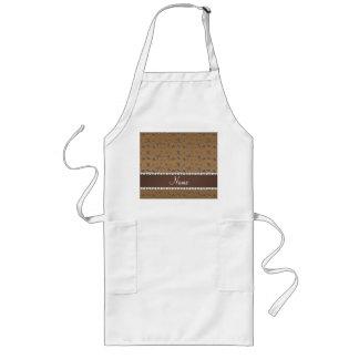 Personalized name silver brown gymnastics long apron