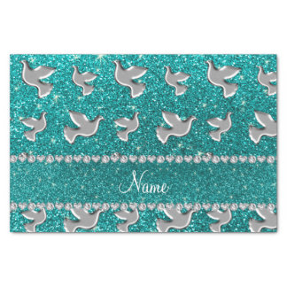 Personalized name silver dove bright aqua glitter tissue paper