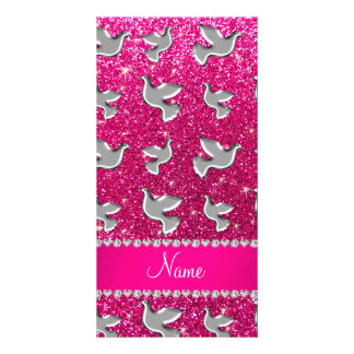 Personalized name silver dove neon hot pink glitte customised photo card