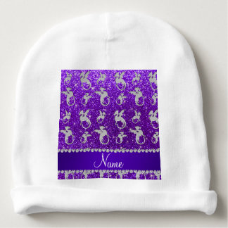Personalized name silver dragons purple glitter baby beanie