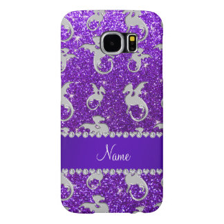 Personalized name silver dragons purple glitter samsung galaxy s6 cases