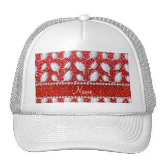 Personalized name silver feathers red glitter trucker hat