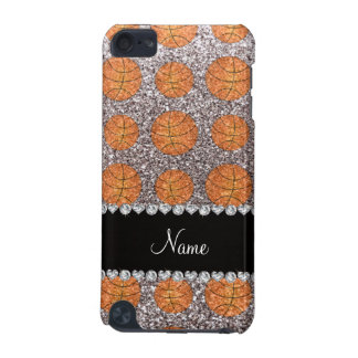 Personalized name silver glitter basketballs iPod touch 5G covers