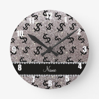 Personalized name silver glitter dollar signs round clock