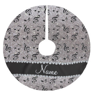 Personalized name silver glitter music notes brushed polyester tree skirt