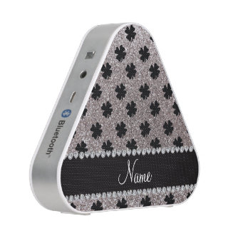 Personalized name silver glitter shamrocks