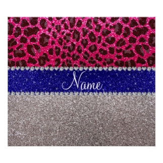 Personalized name silver pink leopard glitter print